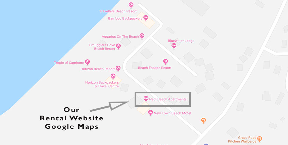 Map showing Nadi Beach Apartments rental website in Google Maps