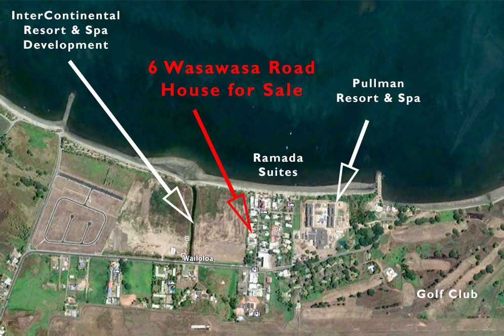 Map showing location of house for sale at Wailoaloa Beach Nadi